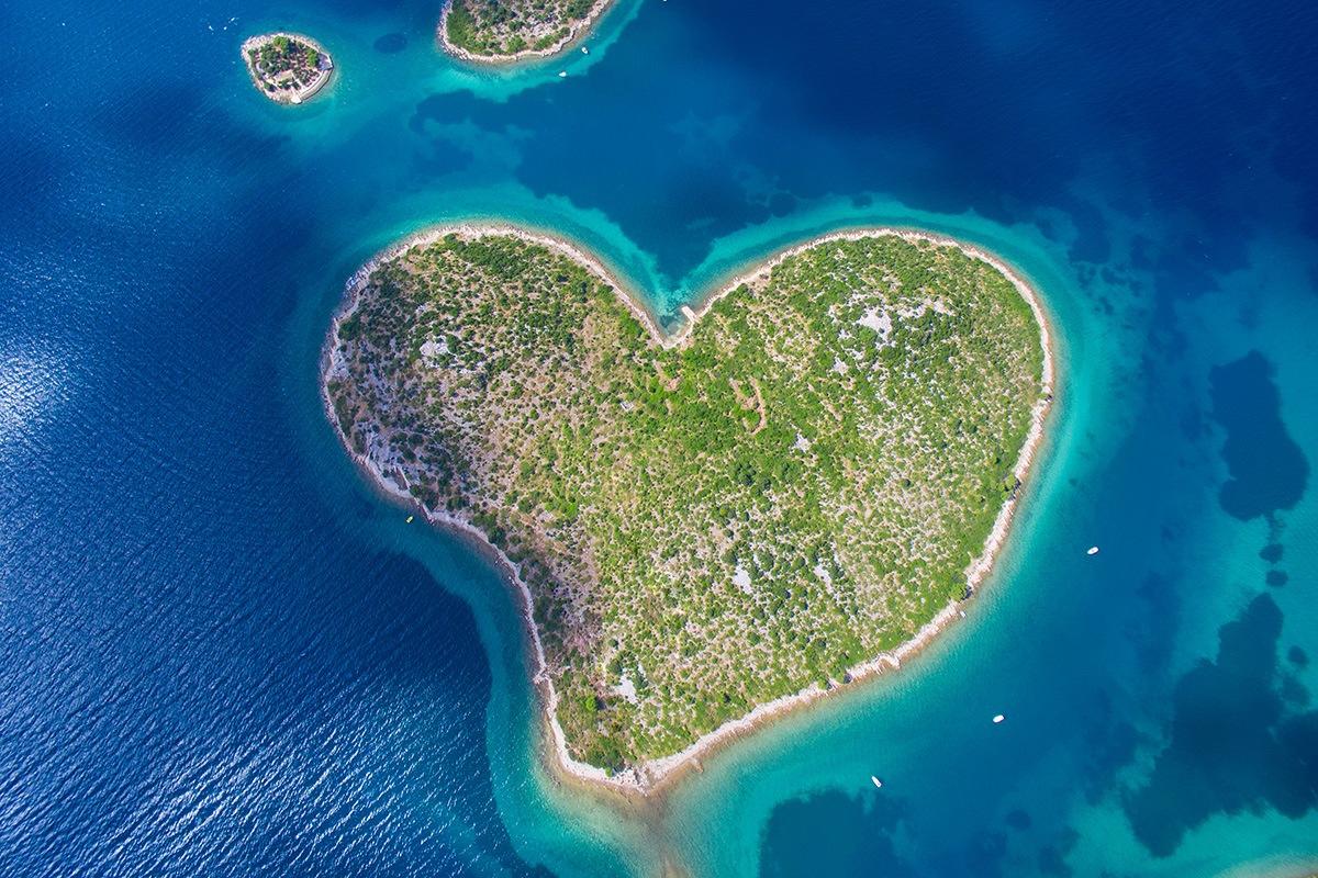 Galešnjak heartshape island in Turanj, hidden and uncrowded Croatia