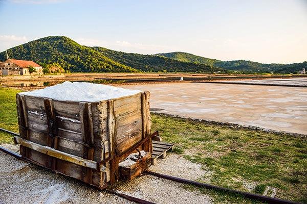 Salt production. Stone and Mali Ston, Croatia