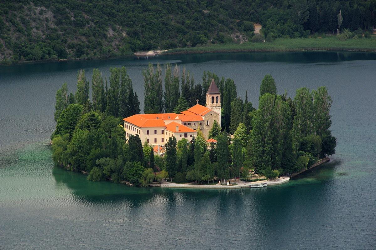 visovac monastery on Krka National Park and visovac lake. hidden and uncrowded Croatia
