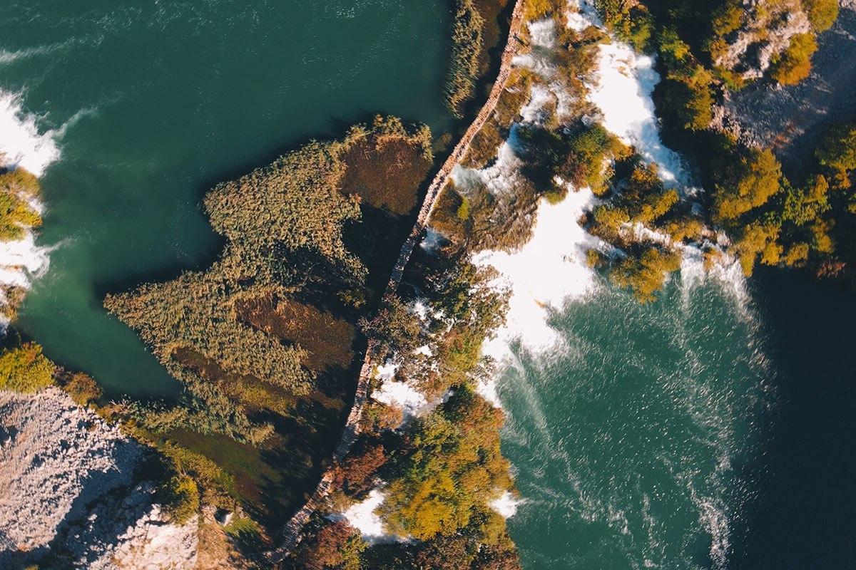 aerial view of kuda's bridge in croatia. river krupa, waterfalls