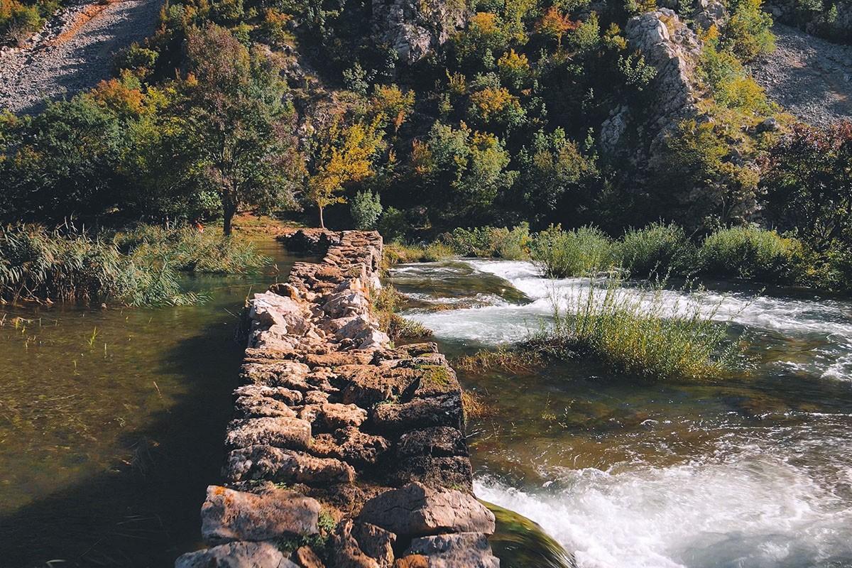 kuda's bridge on river krupa, waterfalls