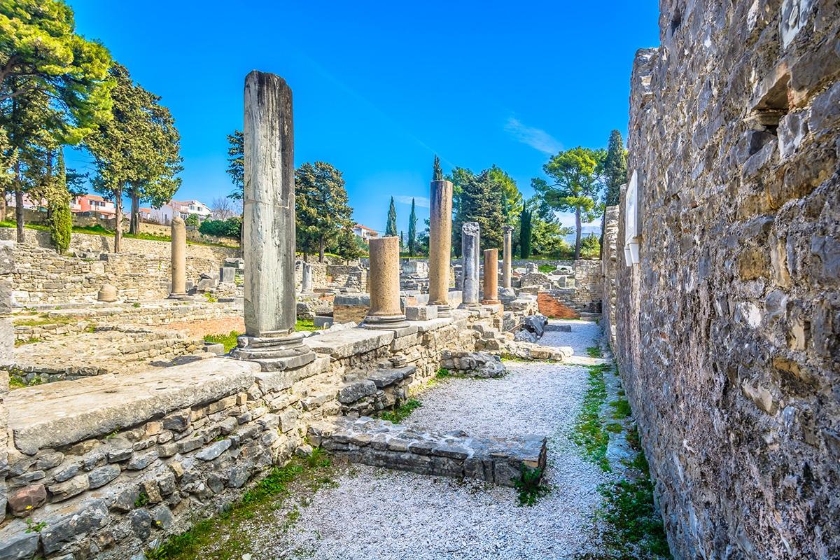 Salona, Solin, Croatia, Roman street and pillars