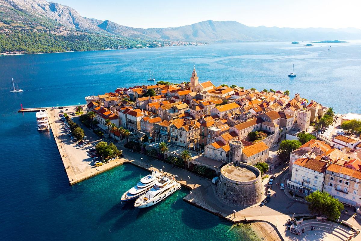 Island Korčula Town, Croatia, from above