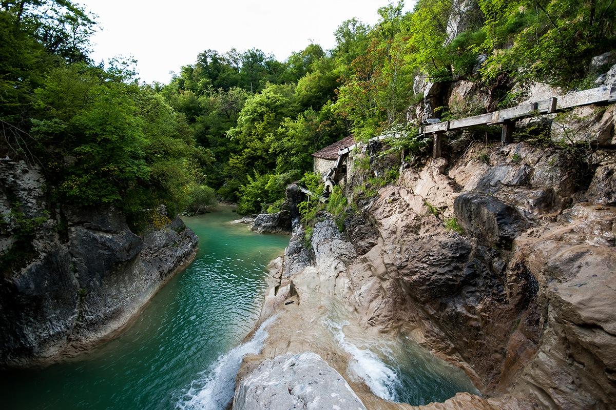 Mirna river, Kotli, Istra, Old water mill