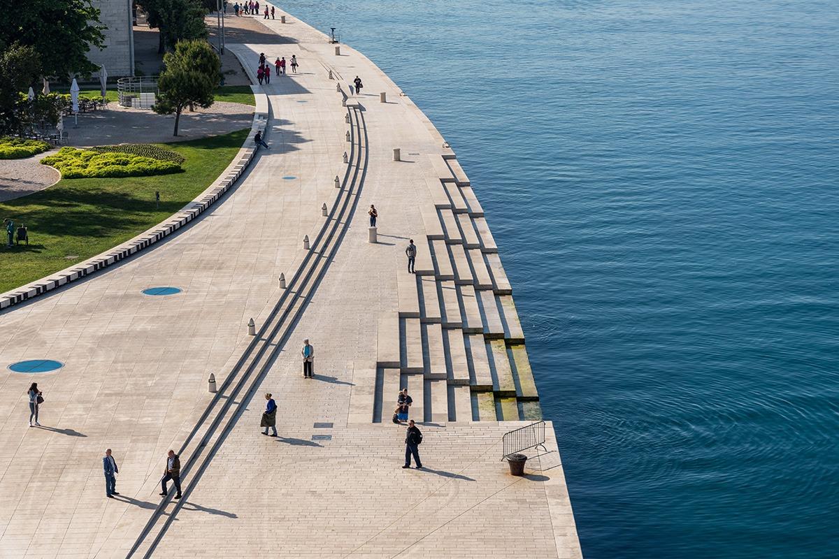 Sea organ, greeting to the sun and promenade in Zadar