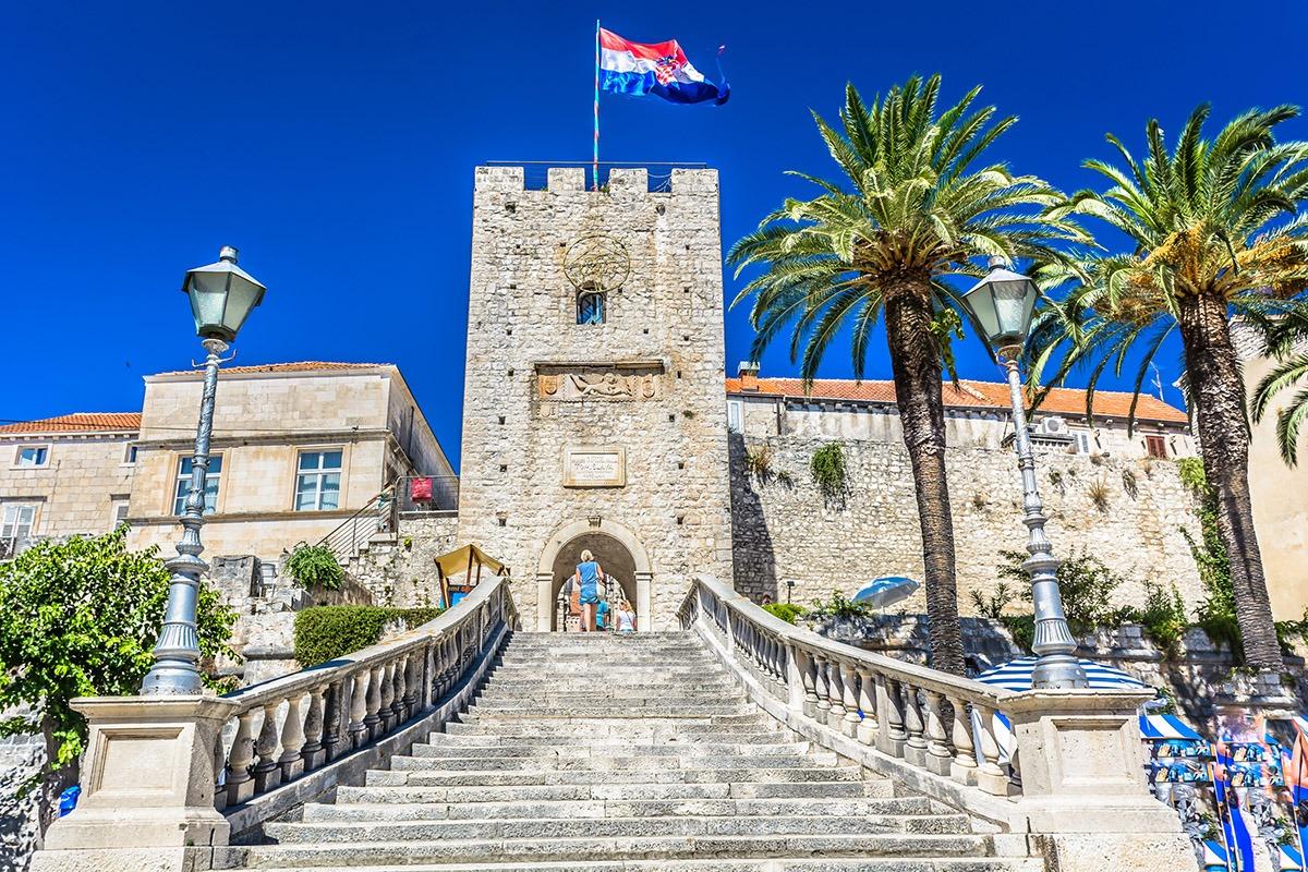 Staircase to Revelin Tower in Korčula, Croatia